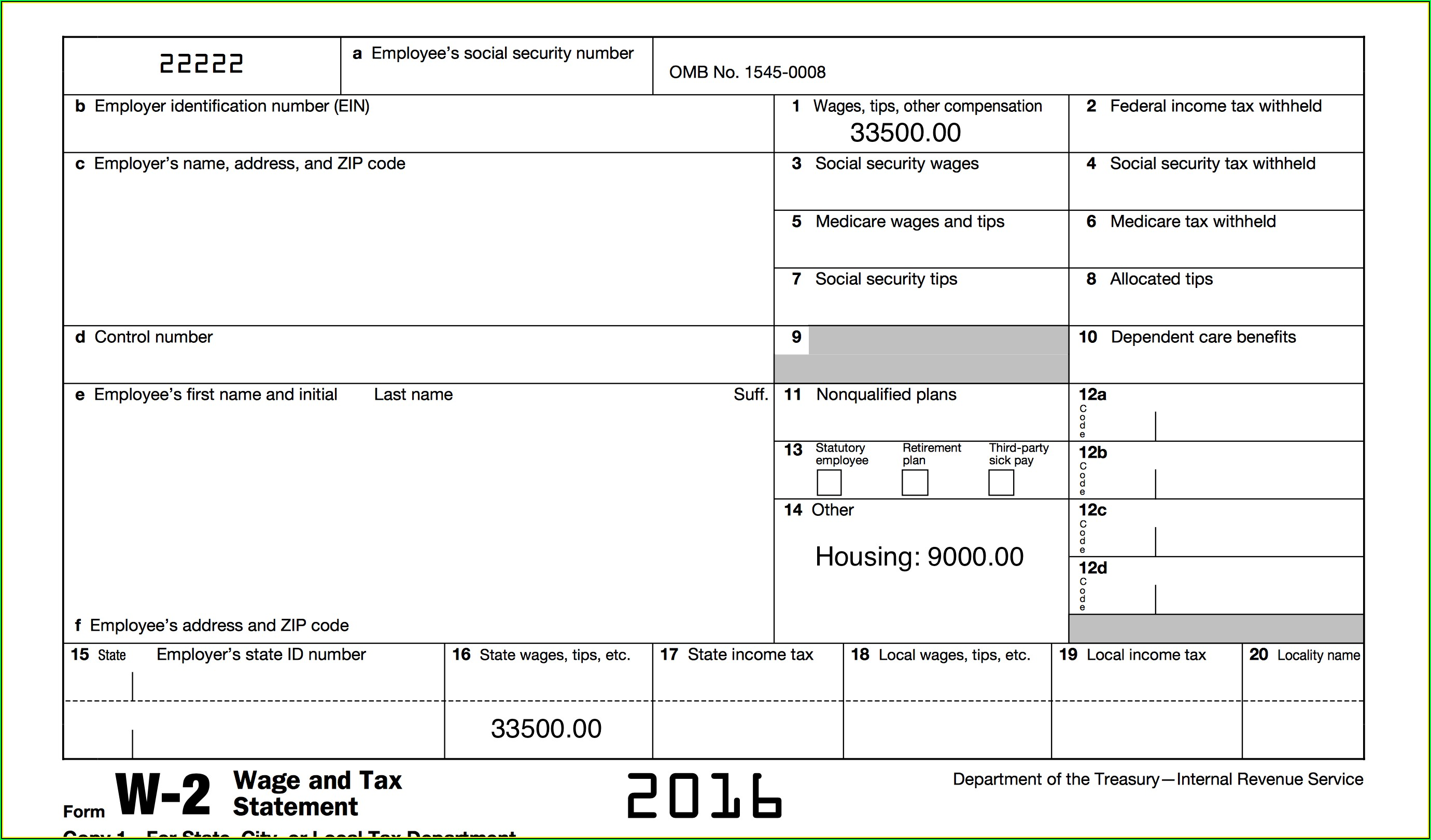 Printable W2 Form For Employees 2016