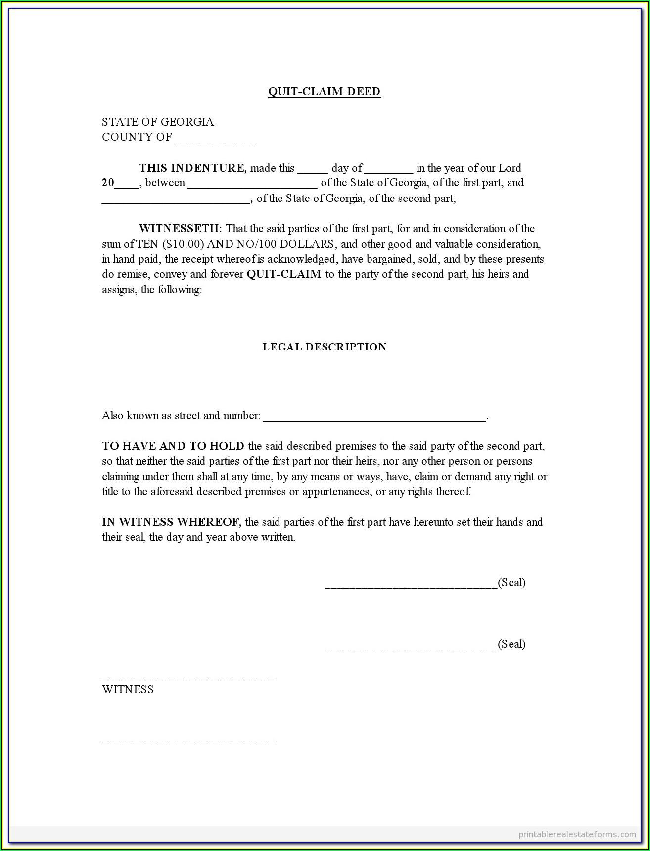 Quick Claim Deed Missouri Form