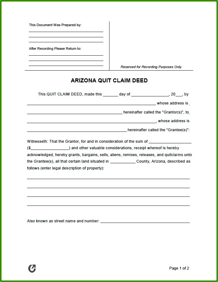 Quit Claim Deed Form Arizona Free