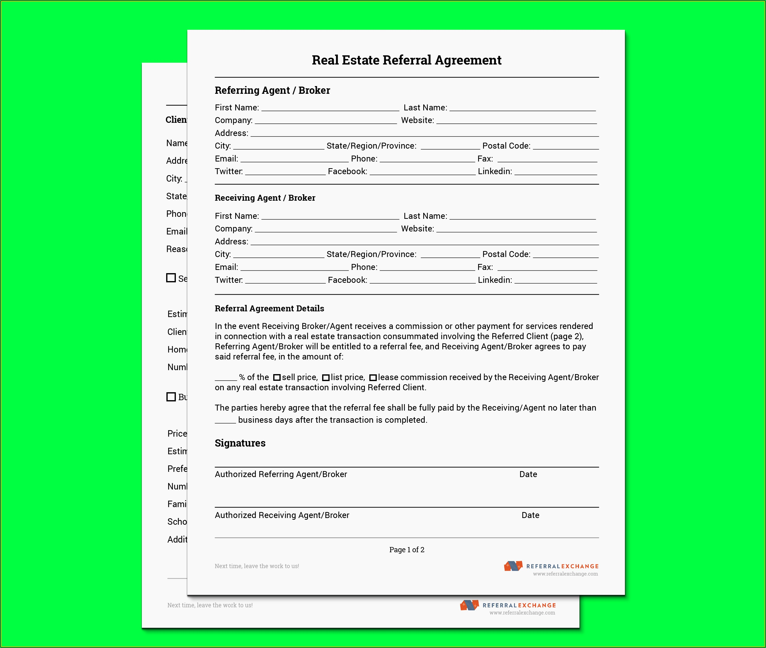 Real Estate Agent Referral Form Free