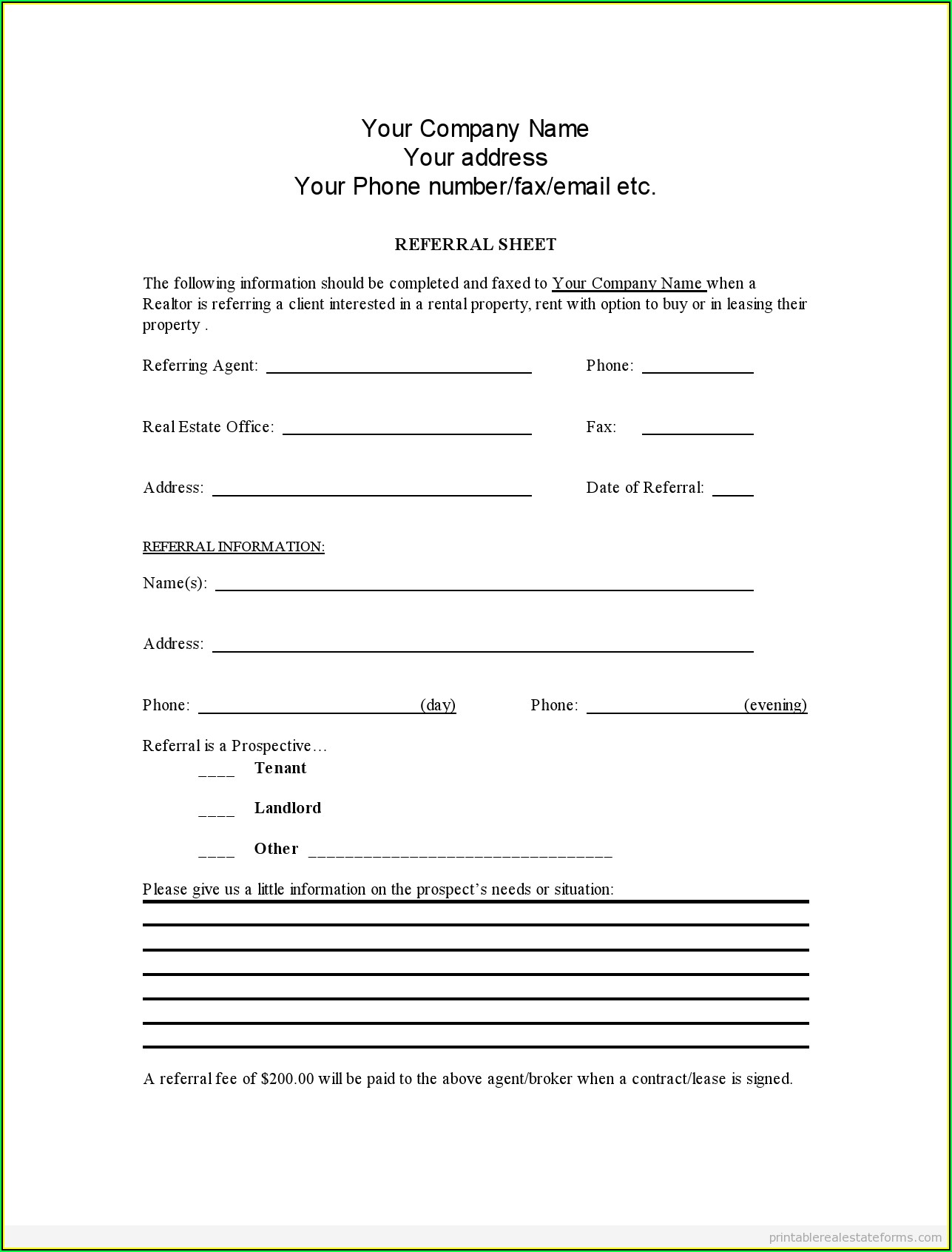 Real Estate Agent Referral Form Template