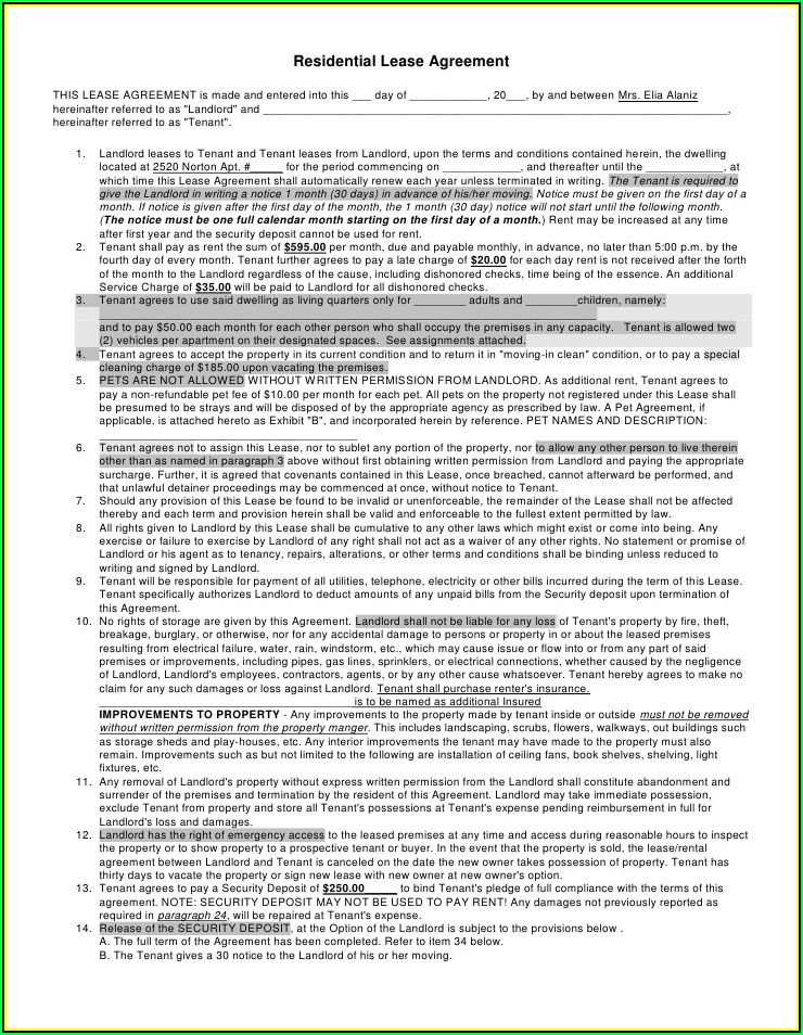 Rental Agreement Form Oregon Pdf