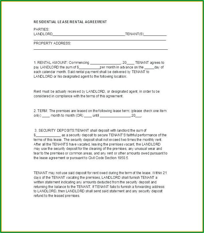Rental Application Form Word Document Ontario