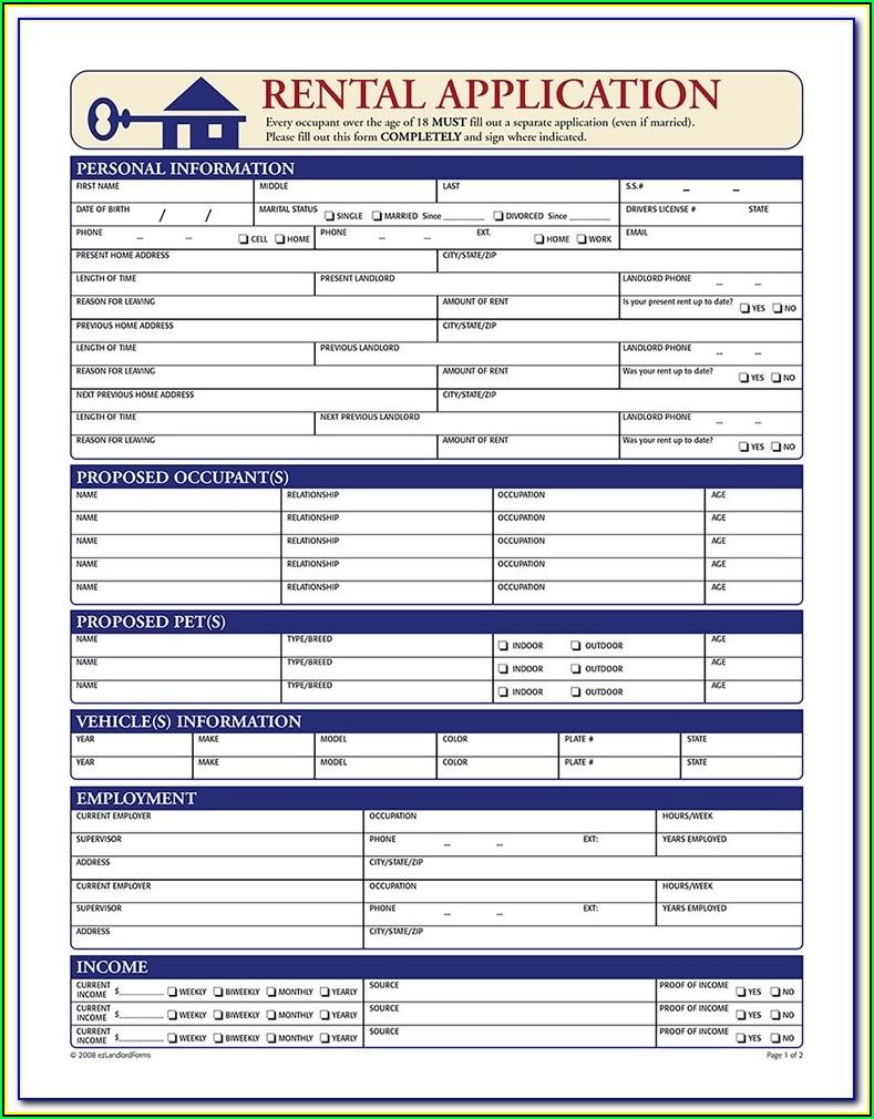 Rental Application Form Word Document
