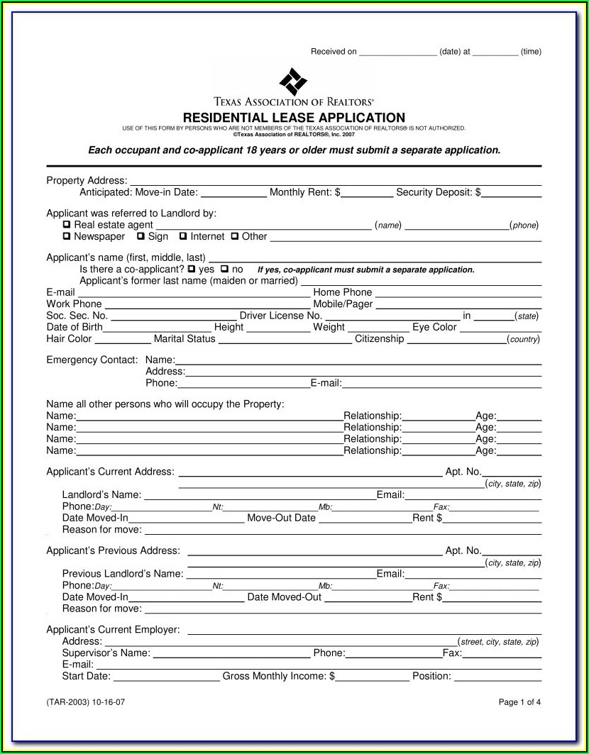 Rental Application Form Word Format