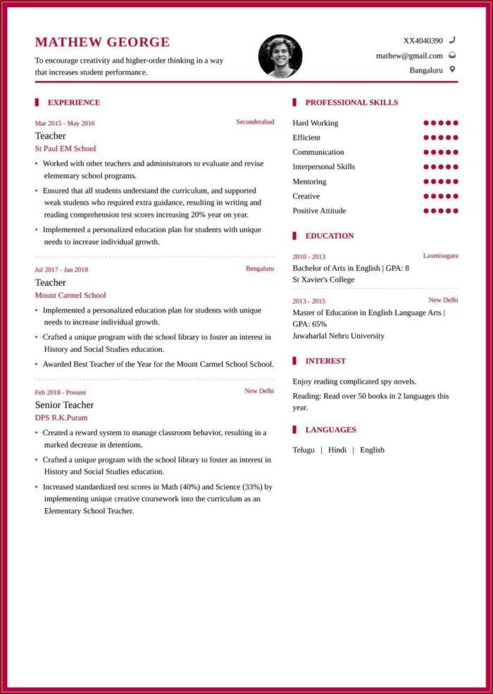Resume Format Free Download For Lecturer Job
