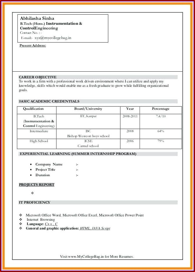 Resume Format In Ms Word Free Download