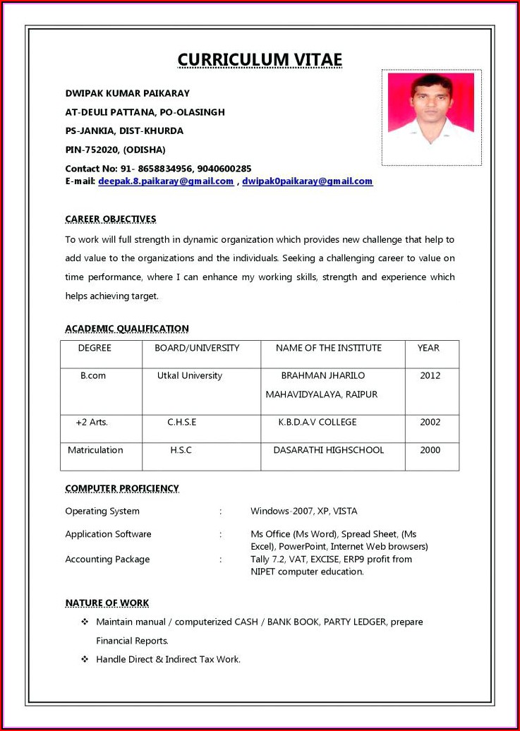Resume Format Pdf Download Free Indian