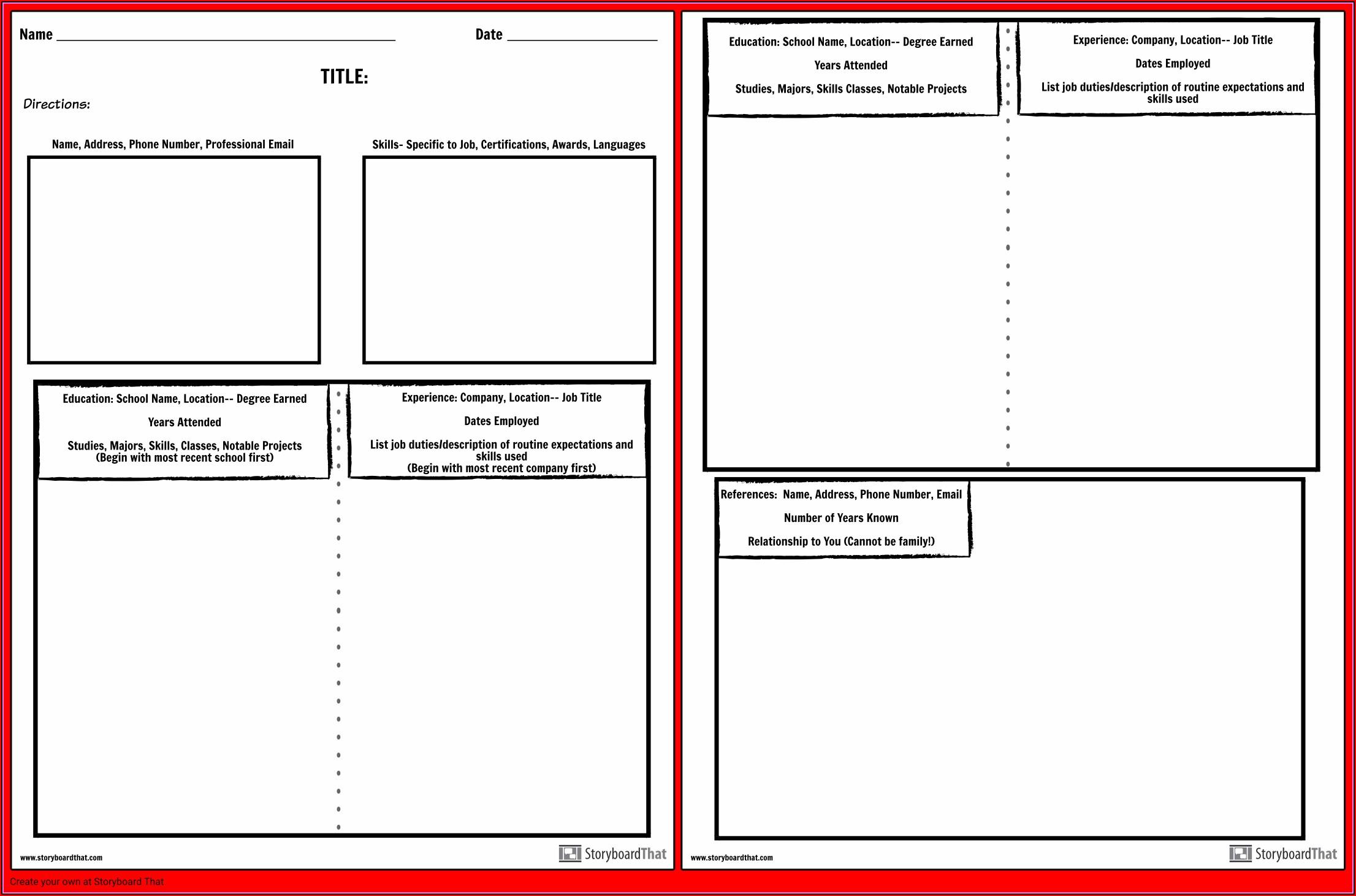 Resume Preparation Worksheet