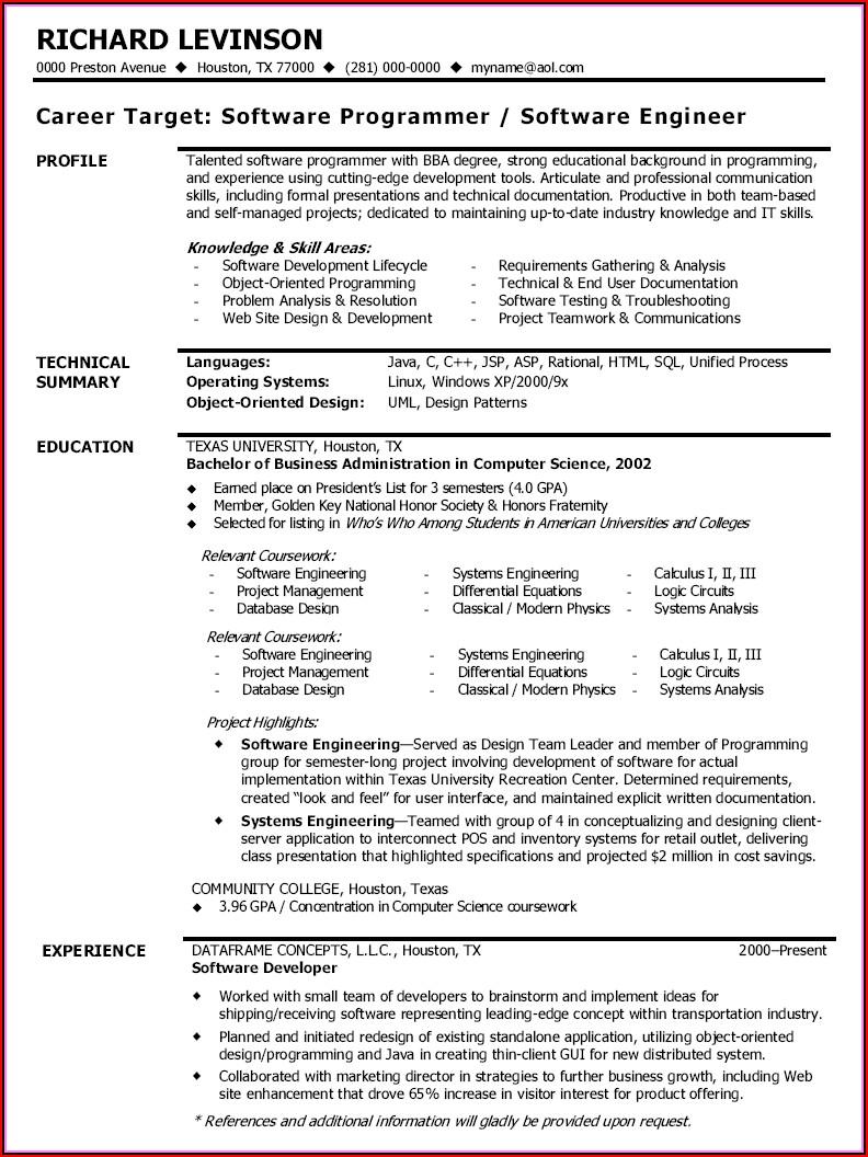 Resume Sample Australia