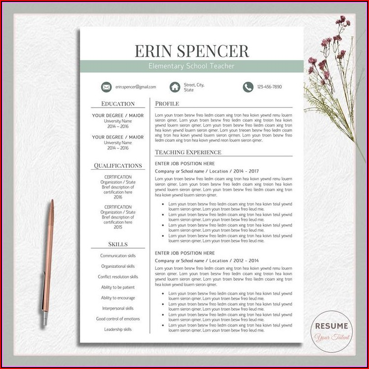 Resume Template For Teacher Free Download