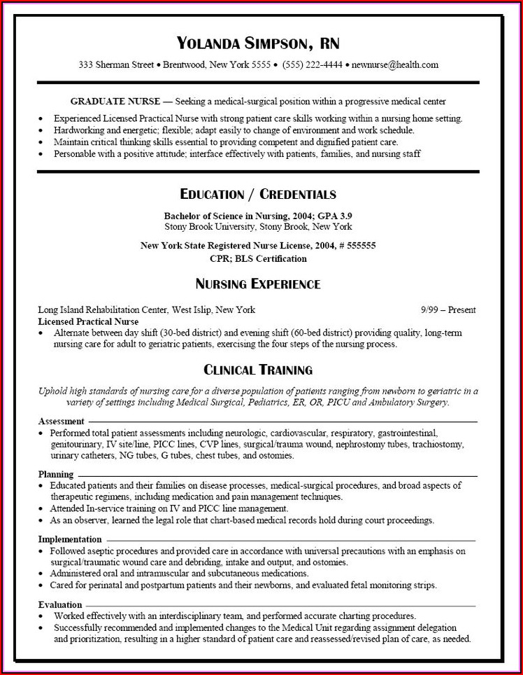 Resume Templates For Nursing Positions