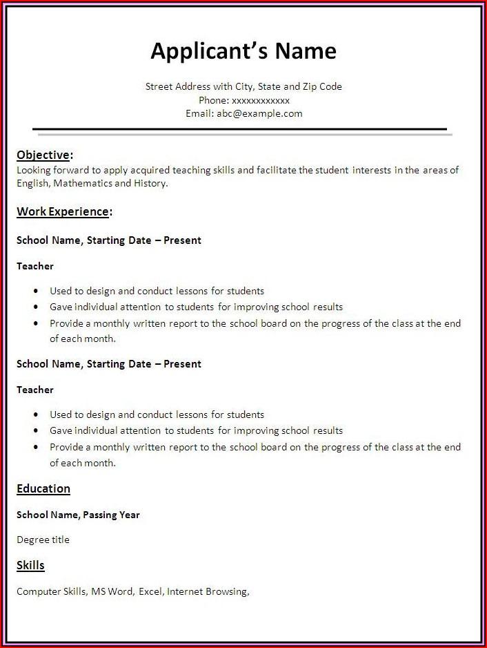 Resume Templates For Teacher Job