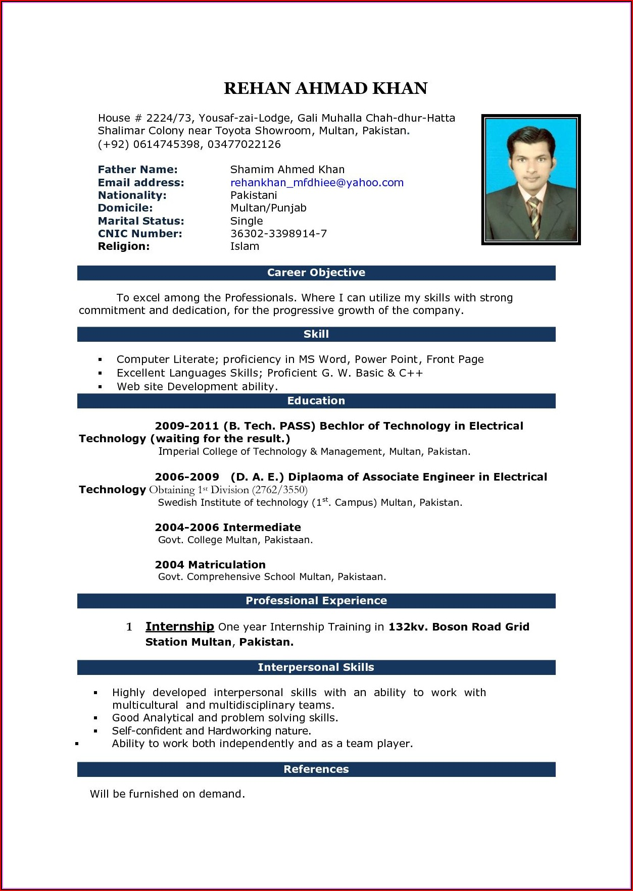 Resume Templates In Word Free Download