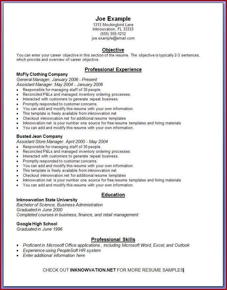 Resume Templates Online Free Printable