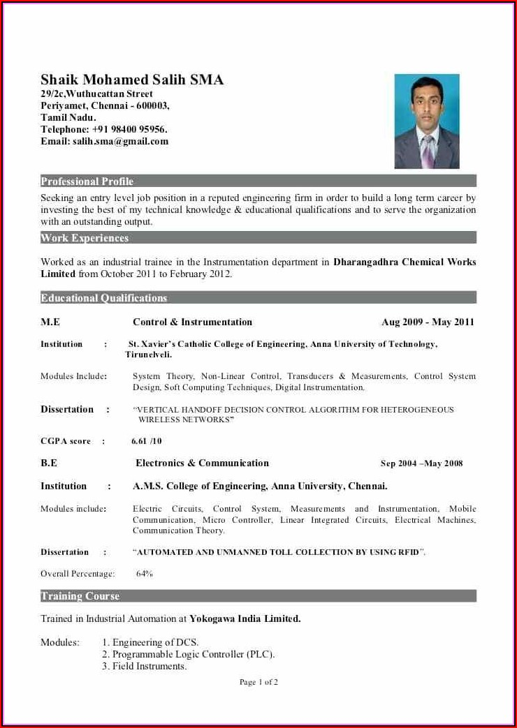 Resume Writing For Mechanical Engineer Fresher