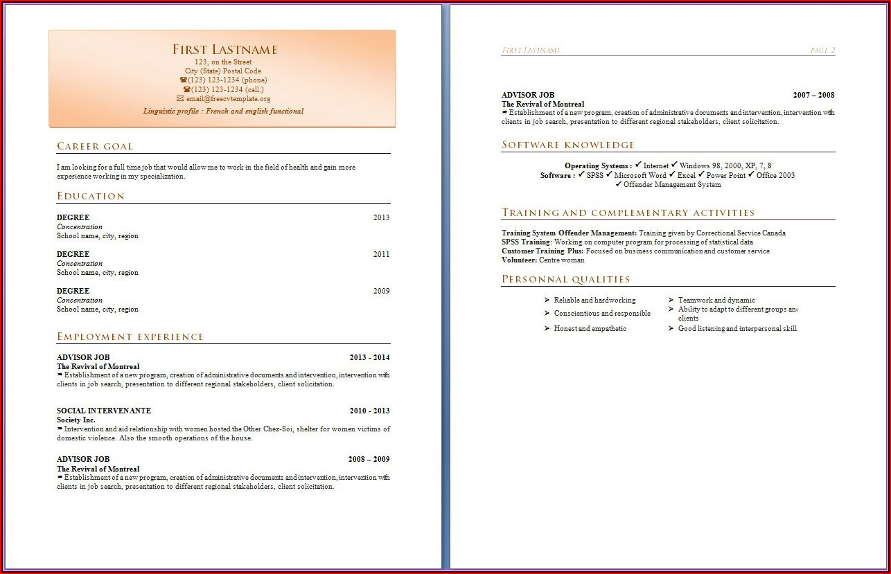 Resumes In Word Format Download