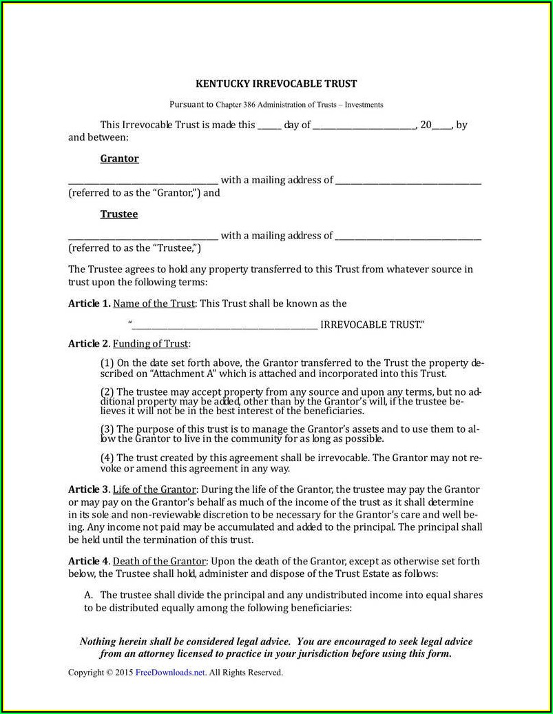 Revocable Living Trust California Form