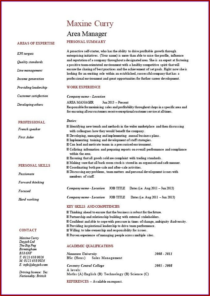 Sales Manager Cv Template