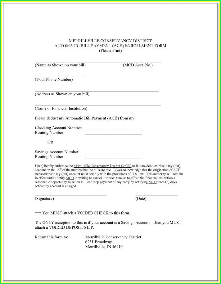Sample Ach Enrollment Form