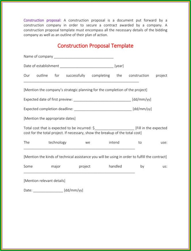 Sample Construction Bid Form