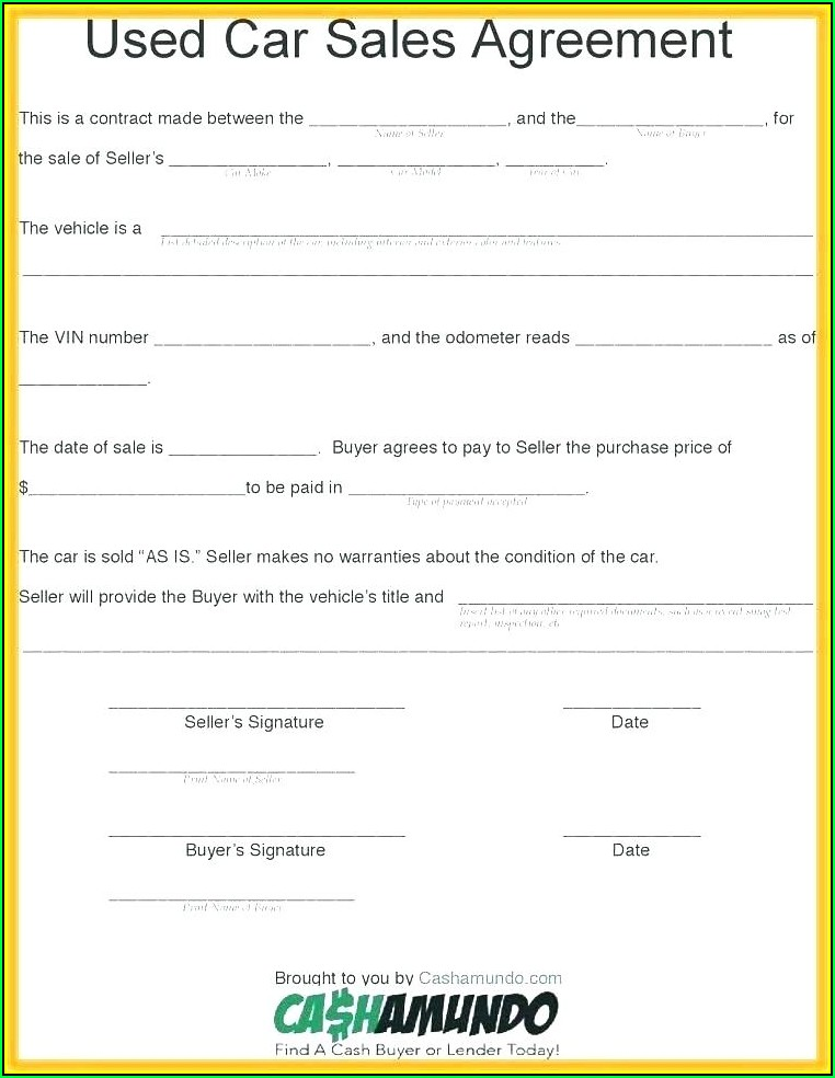 Sample Contract For Sale Of Used Car