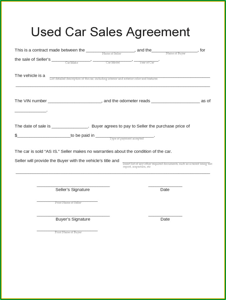 Sample Contract For Selling Used Car