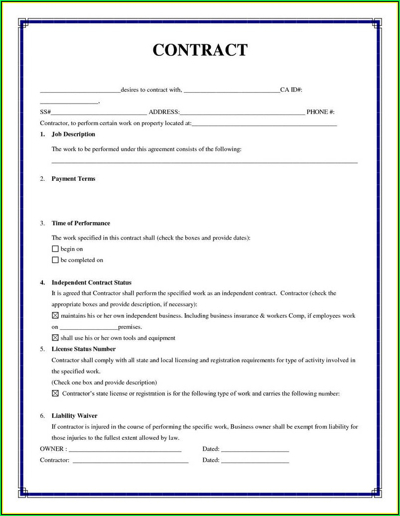 Sample Independent Contractor Agreement Form