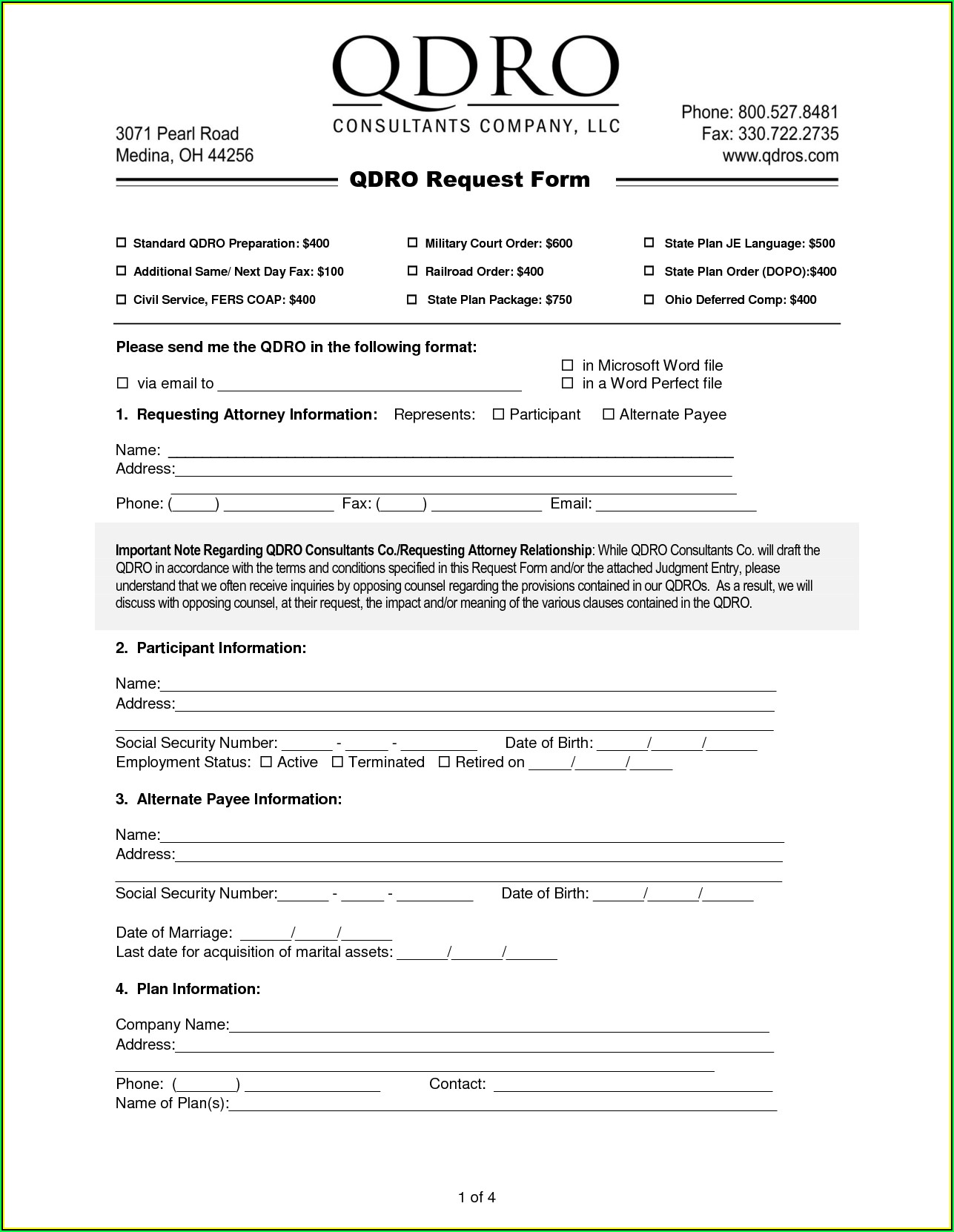 Sample Military Qdro Form