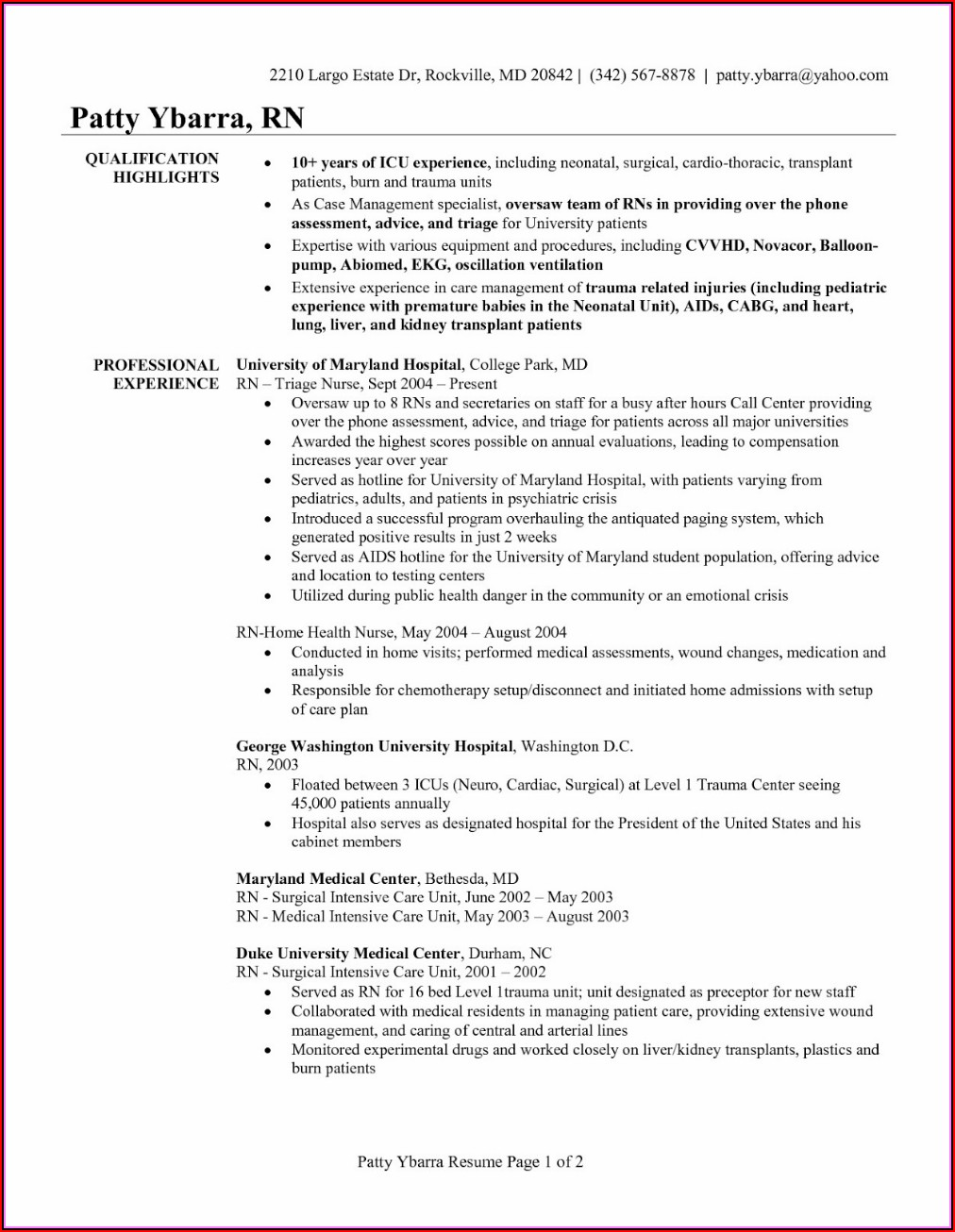 Sample Resume For Nurses With Experience 2018