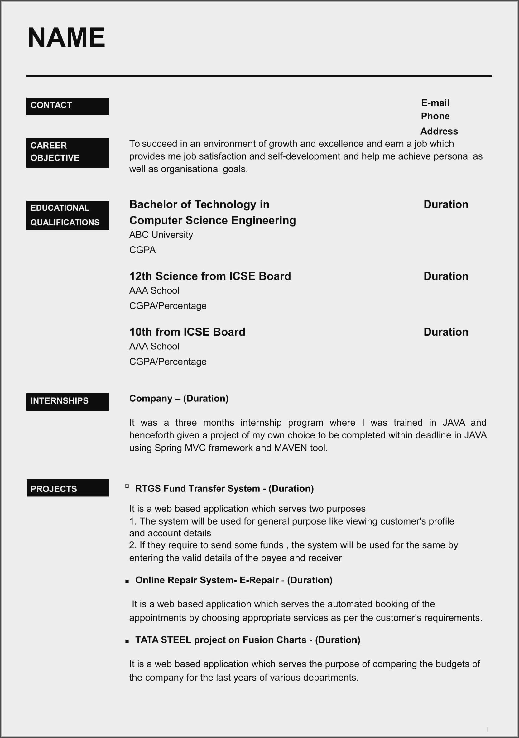 Sample Resume Format Download In Ms Word