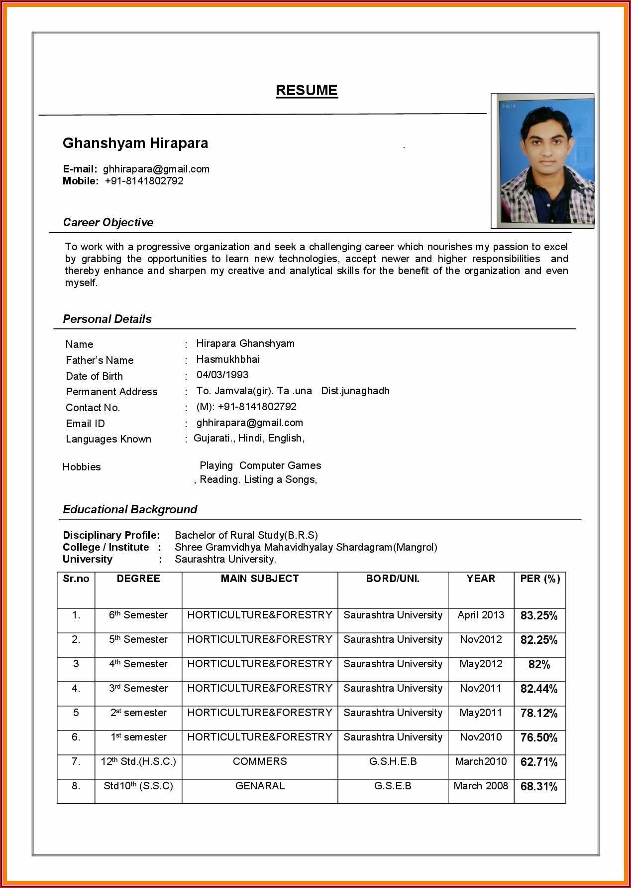 Sample Resume Format Word Document Download