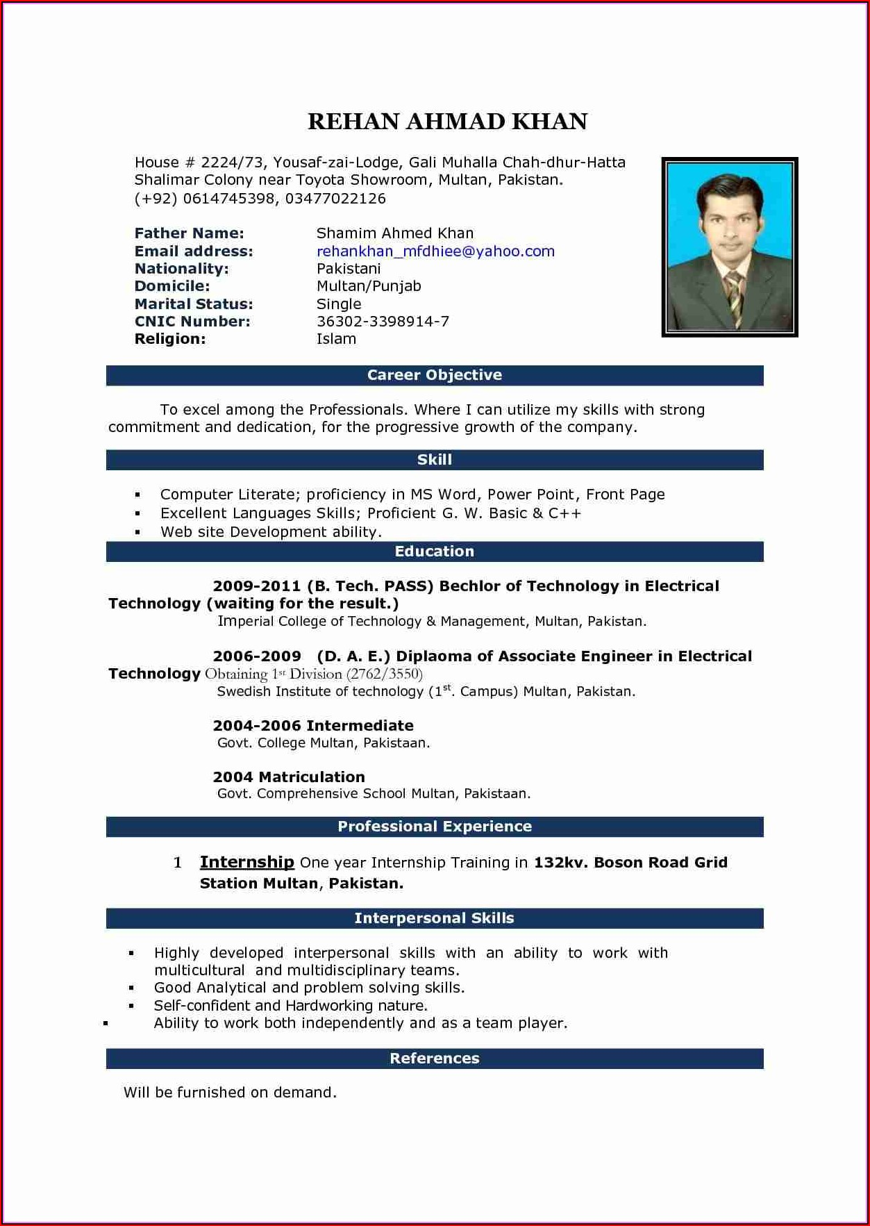 Sample Resume In Word Format Download