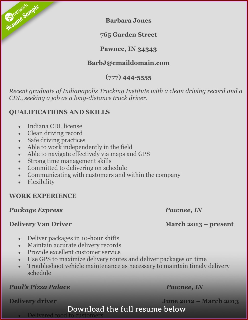 Sample Resume Templates For Truck Drivers