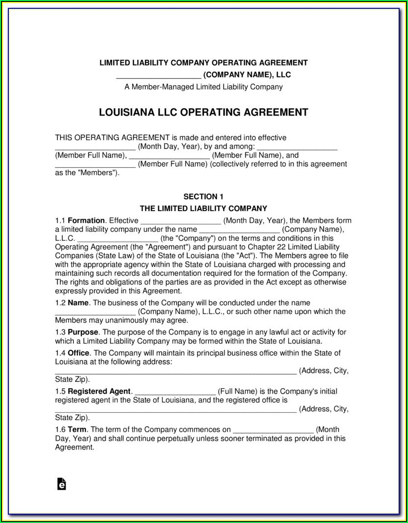 Secretary Of State Louisiana Llc Forms