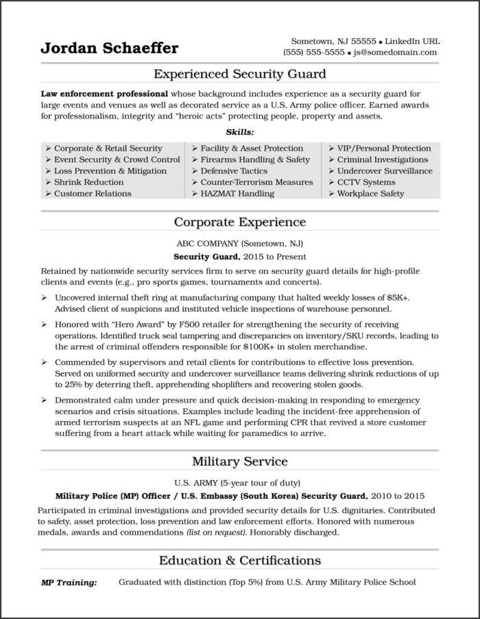 Security Guard Cv Word Template