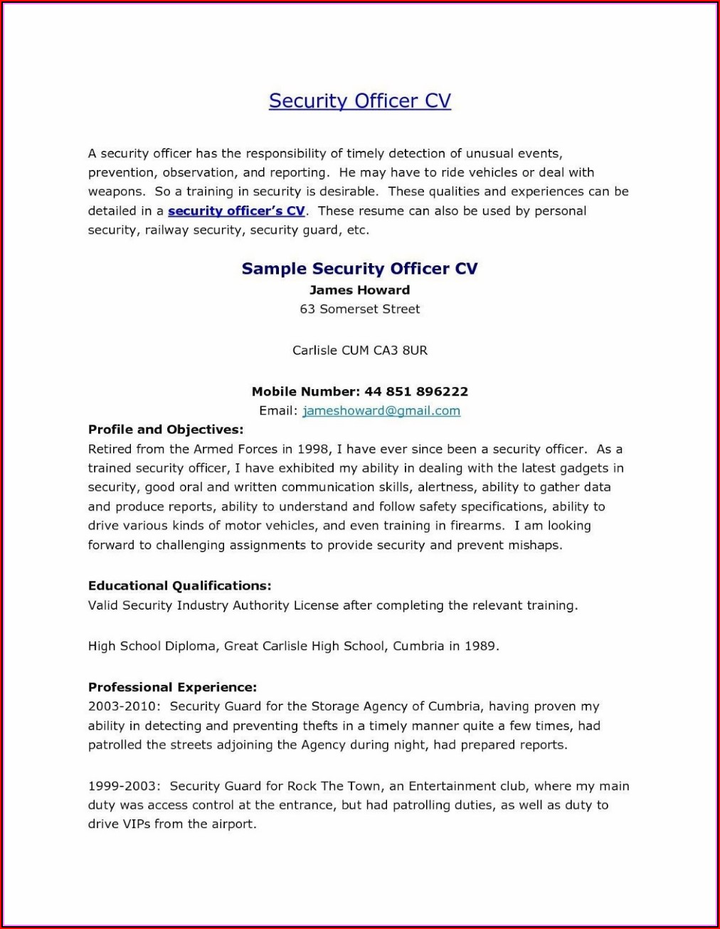Security Guard Resume Template