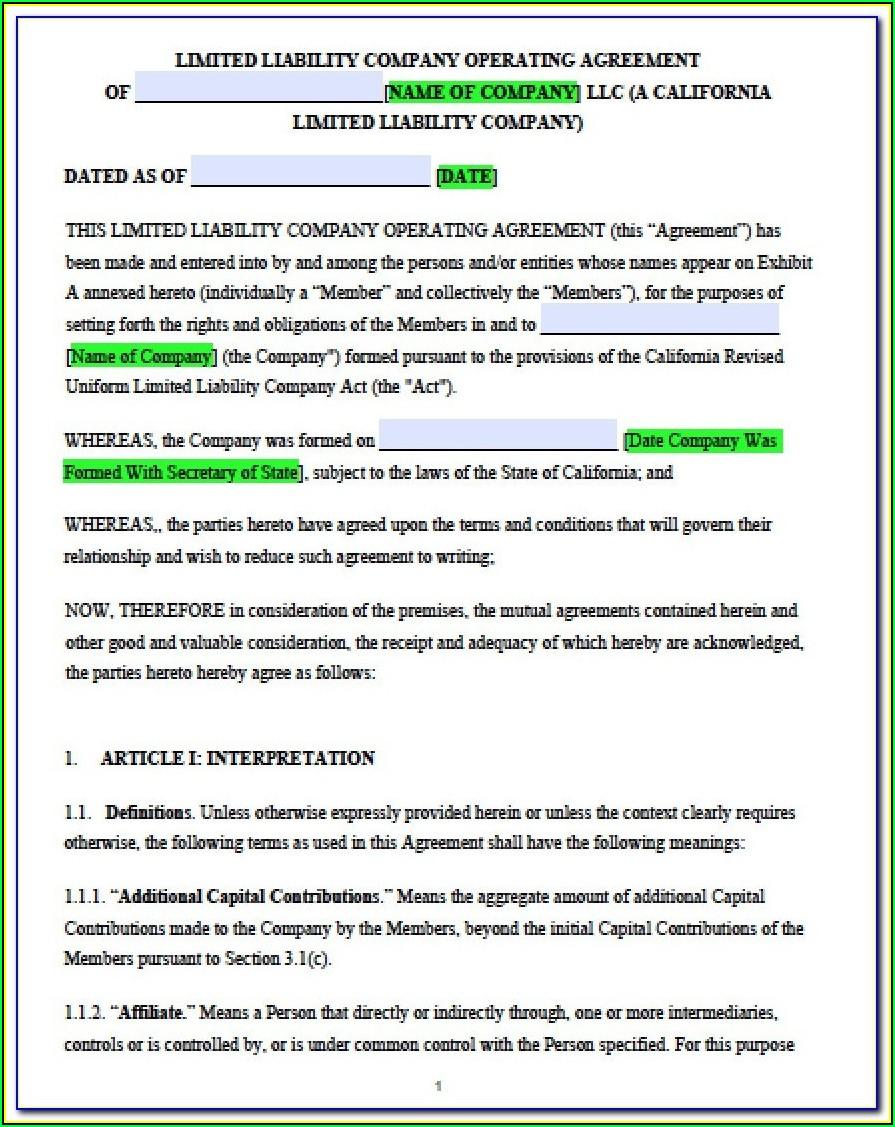 Short Form Llc Operating Agreement