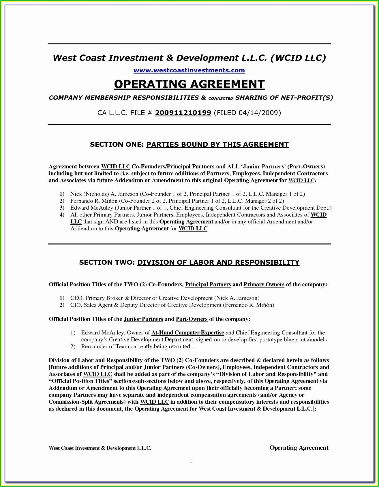 Short Form Operating Agreement For Member Managed Llc