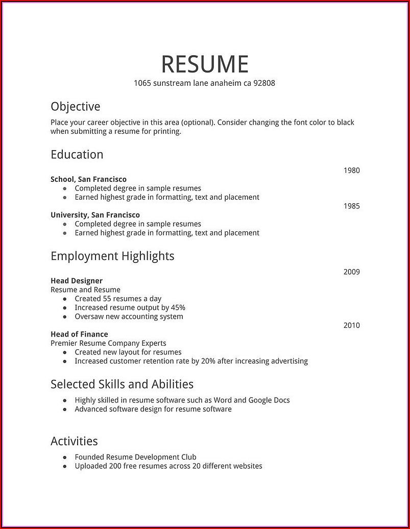 Simple Easy Resume Format