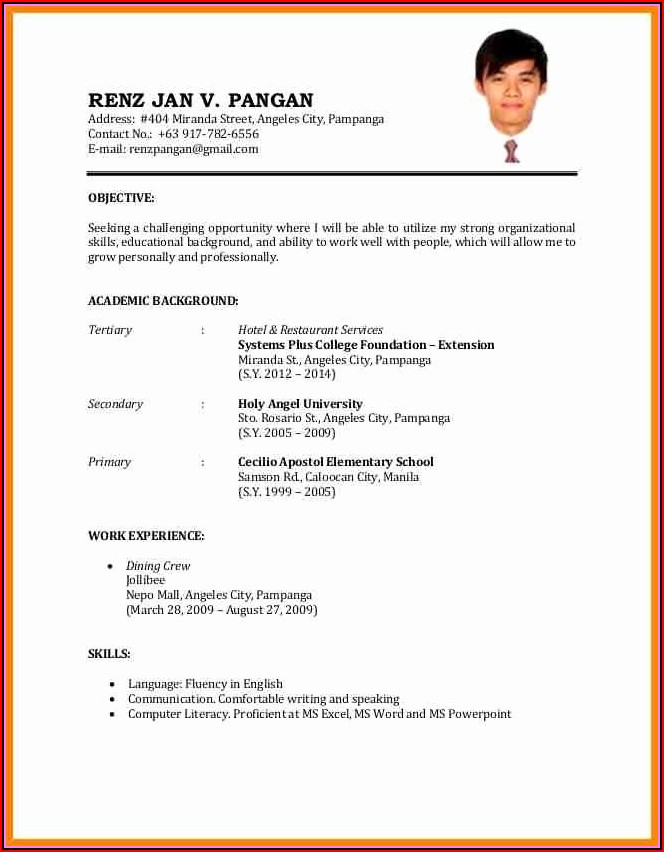 Simple Example Of Resume Format