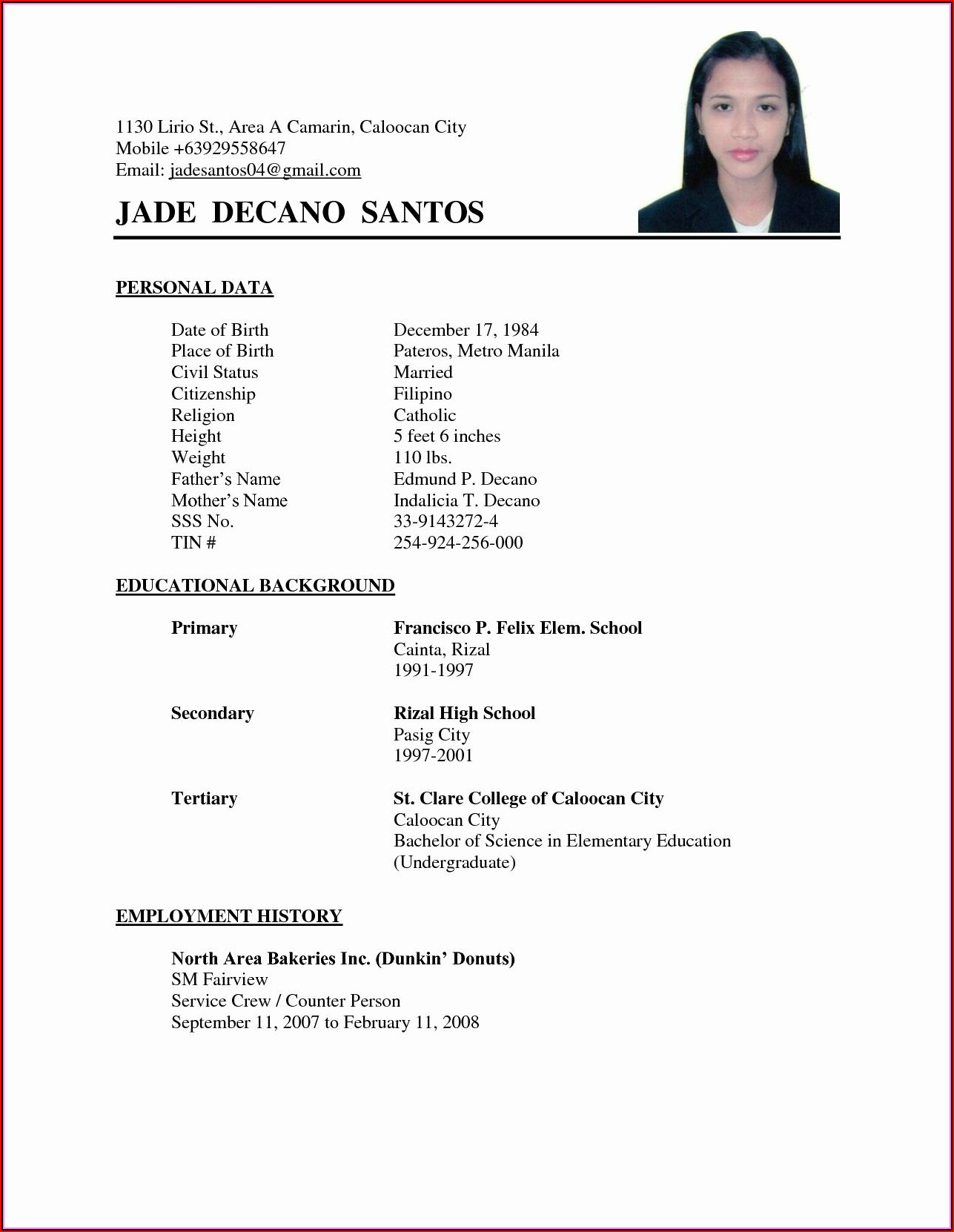 Simple Example Of Resume To Apply Job