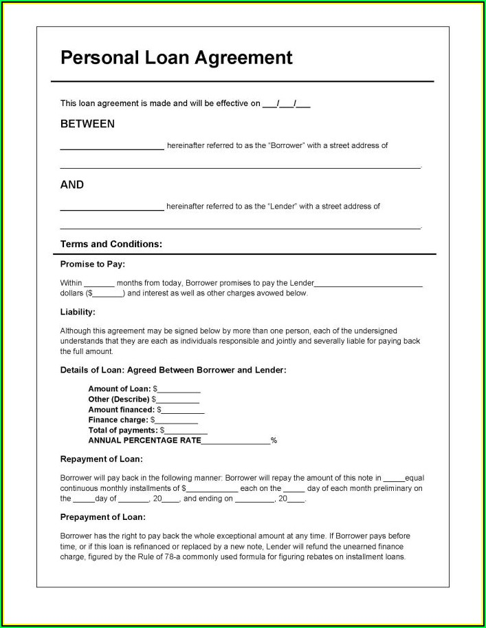 Simple Loan Agreement Form Doc