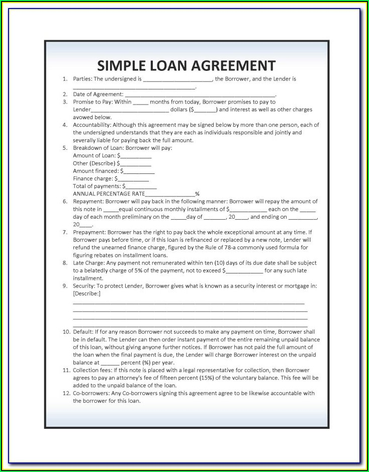 Simple Loan Agreement Format In Tamil