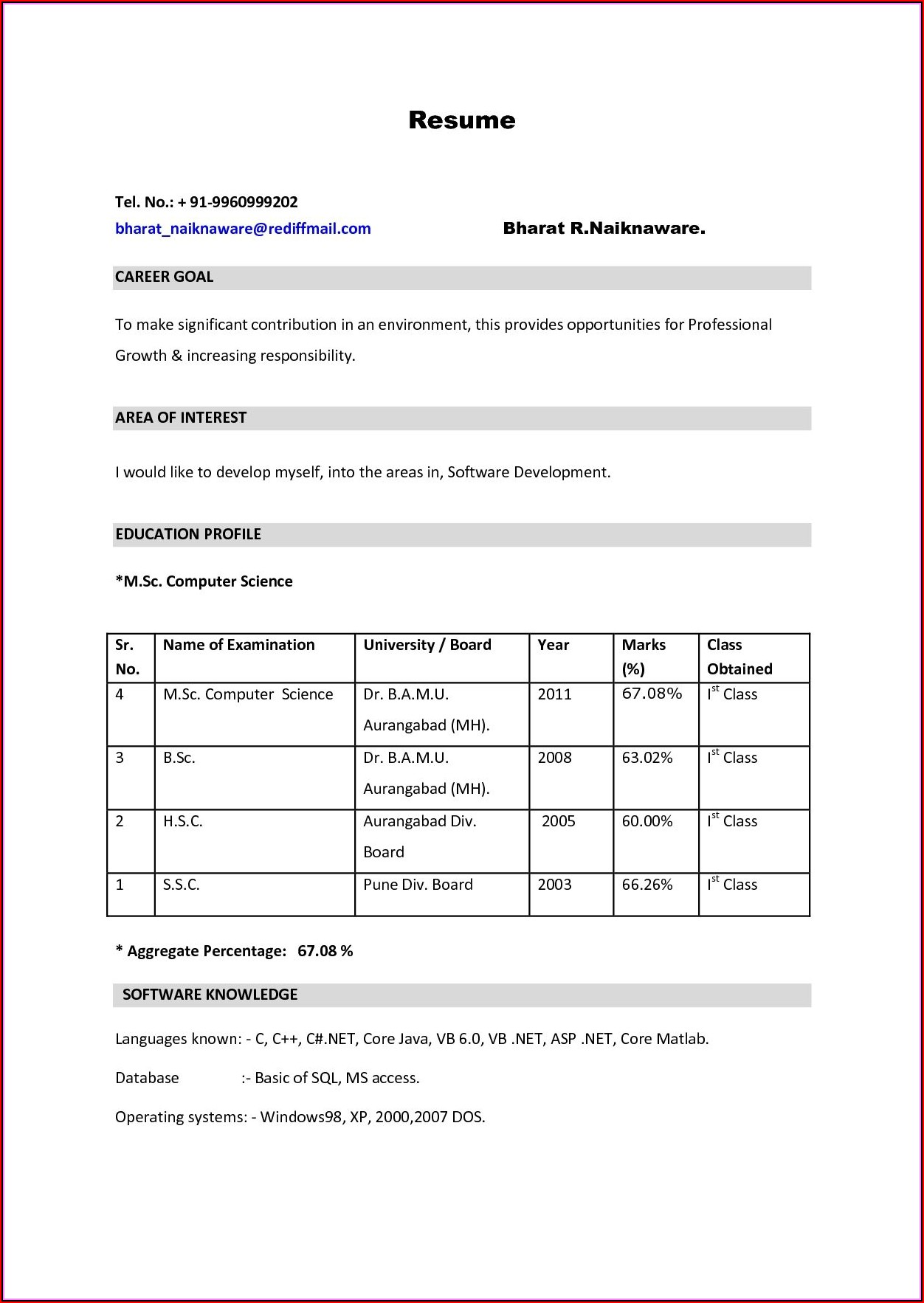 Simple Resume Format Download For Freshers