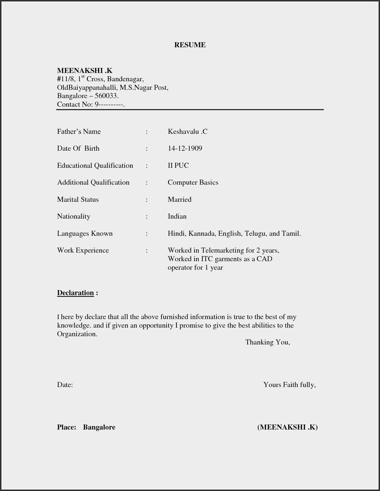 Simple Resume Format Download Pdf