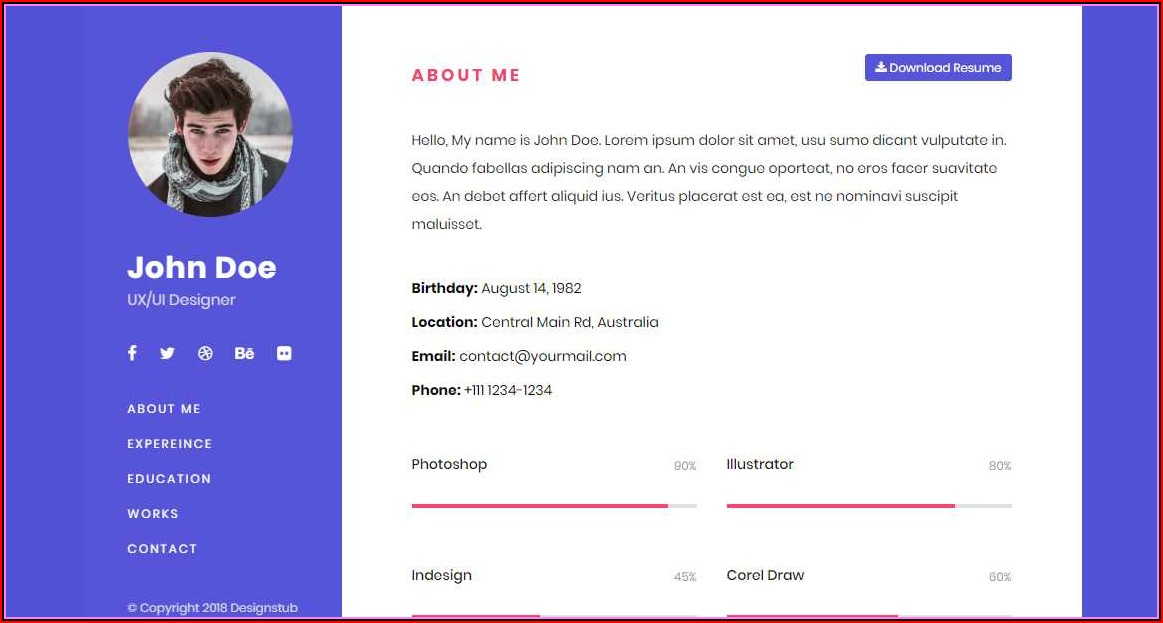 Simple Resume Template Bootstrap Free Download