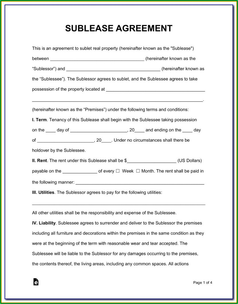 Simple Sublet Agreement Form