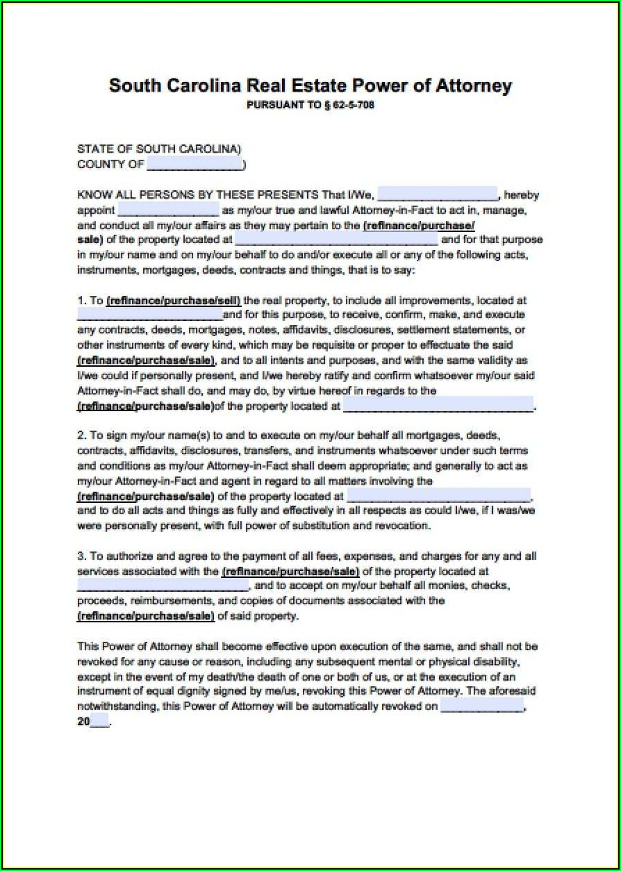 South Carolina Durable Power Of Attorney Form