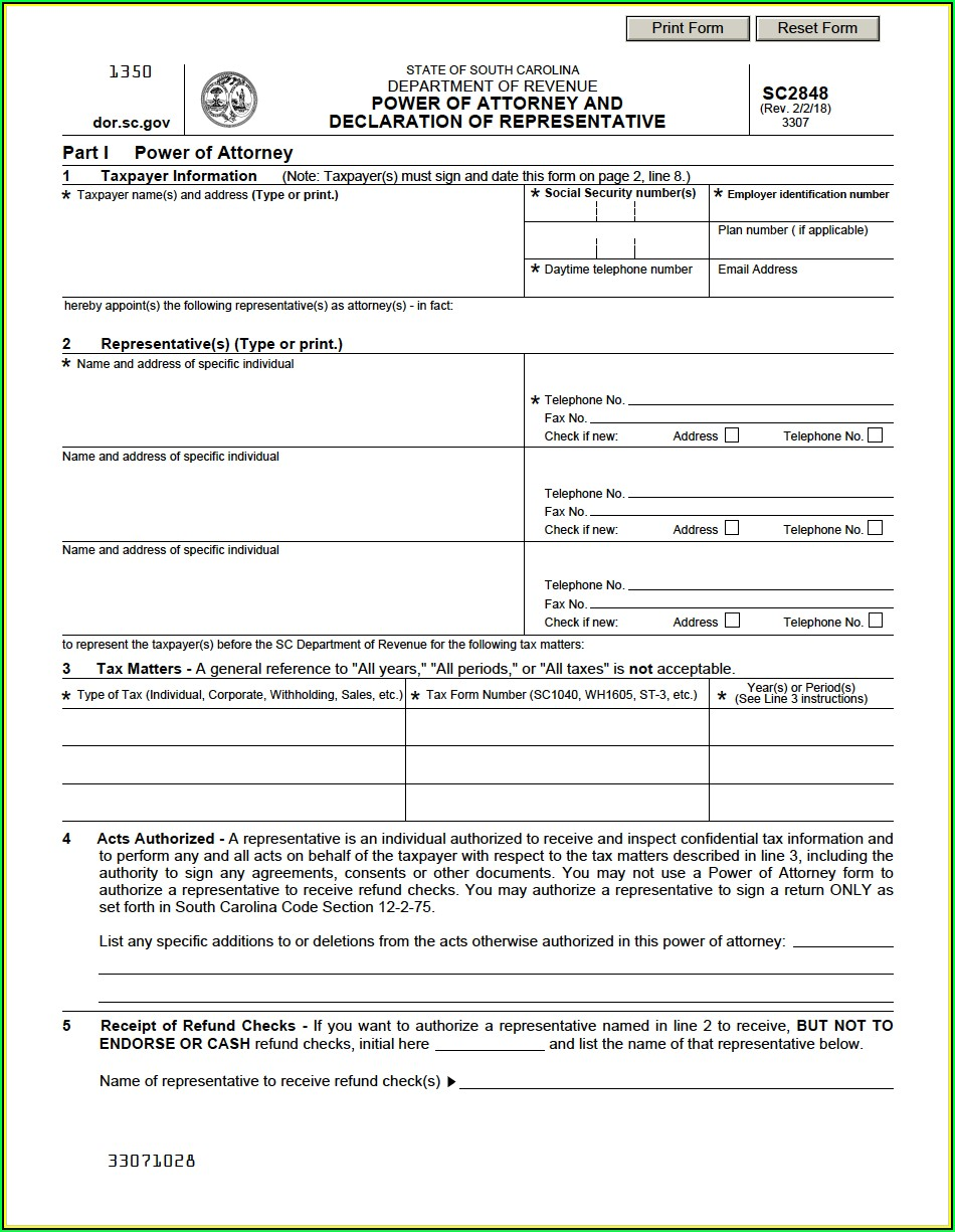 South Carolina Power Of Attorney Form Pdf